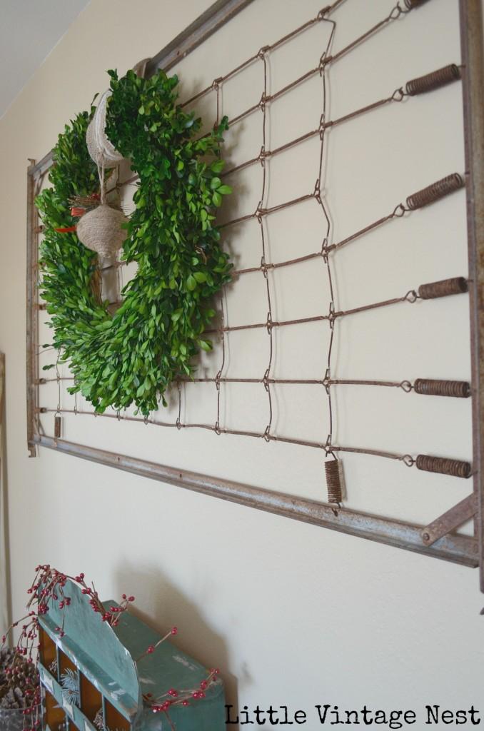 Little Vintage Nest Christmas Wreath Vintage Bedframe