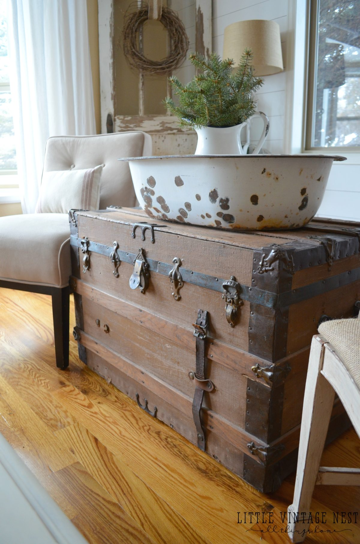 Old vintage trunk used as coffee table