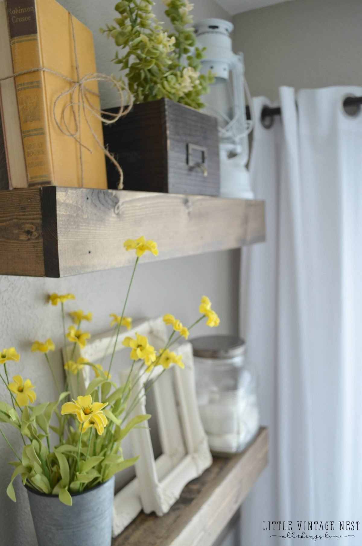 Farmhouse Master Bathroom Decor Floating Shelves