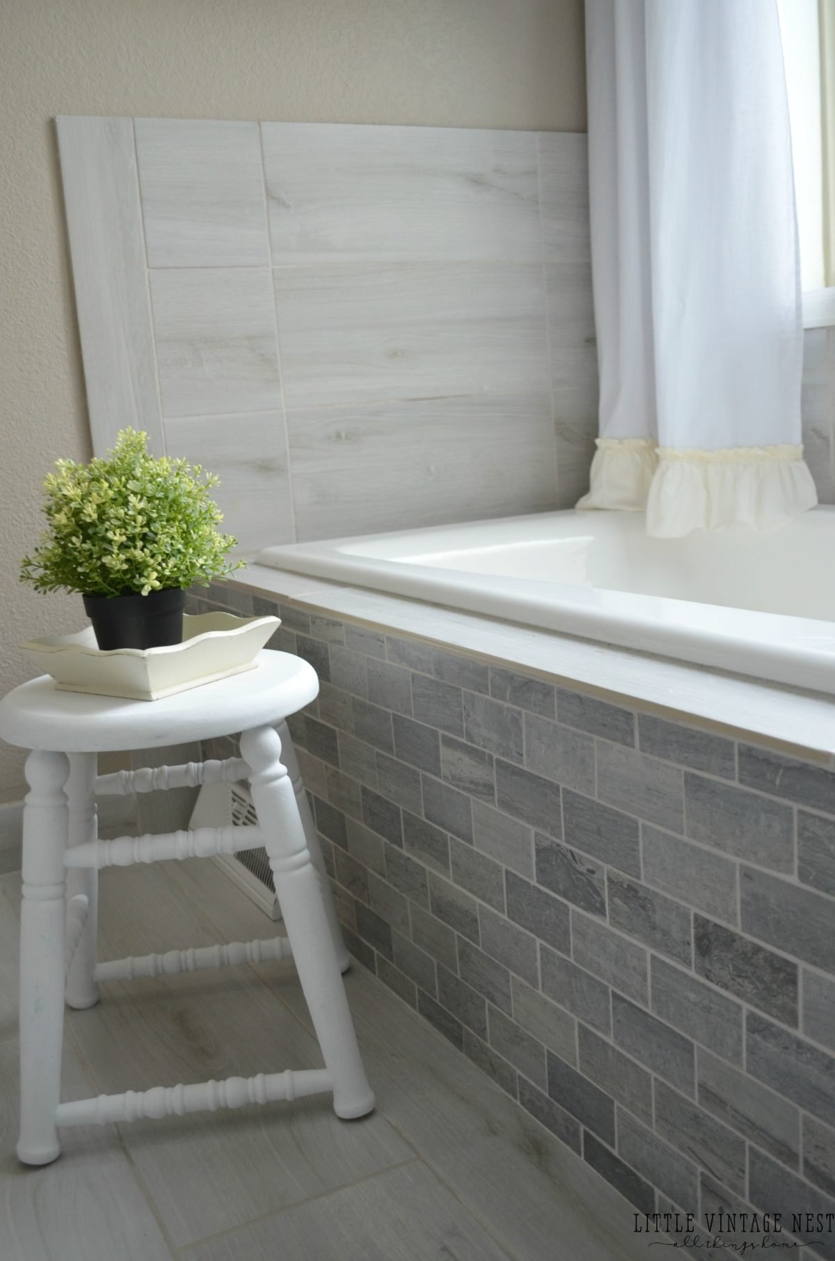 Farmhouse Bathroom Decor and White Stool