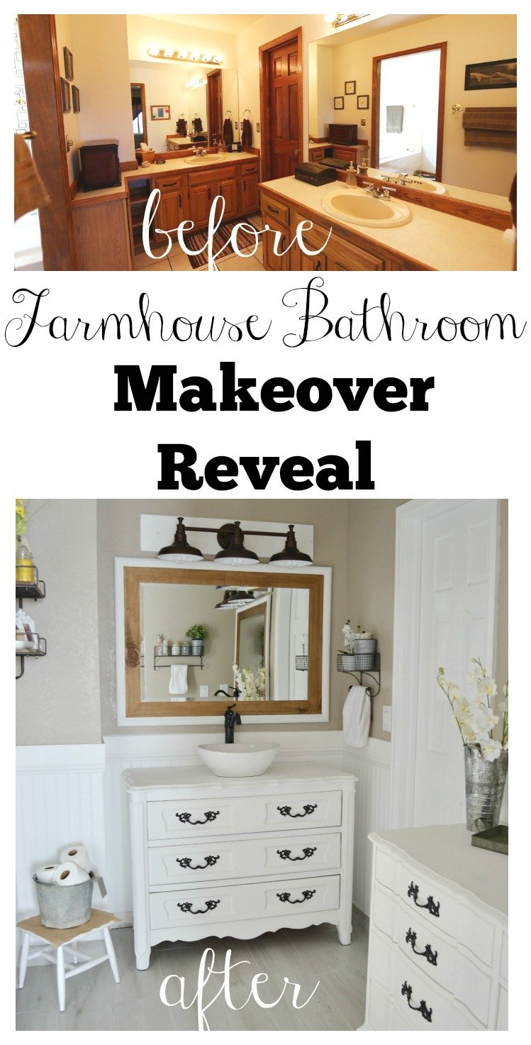 Farmhouse Bathroom Makeover Reveal