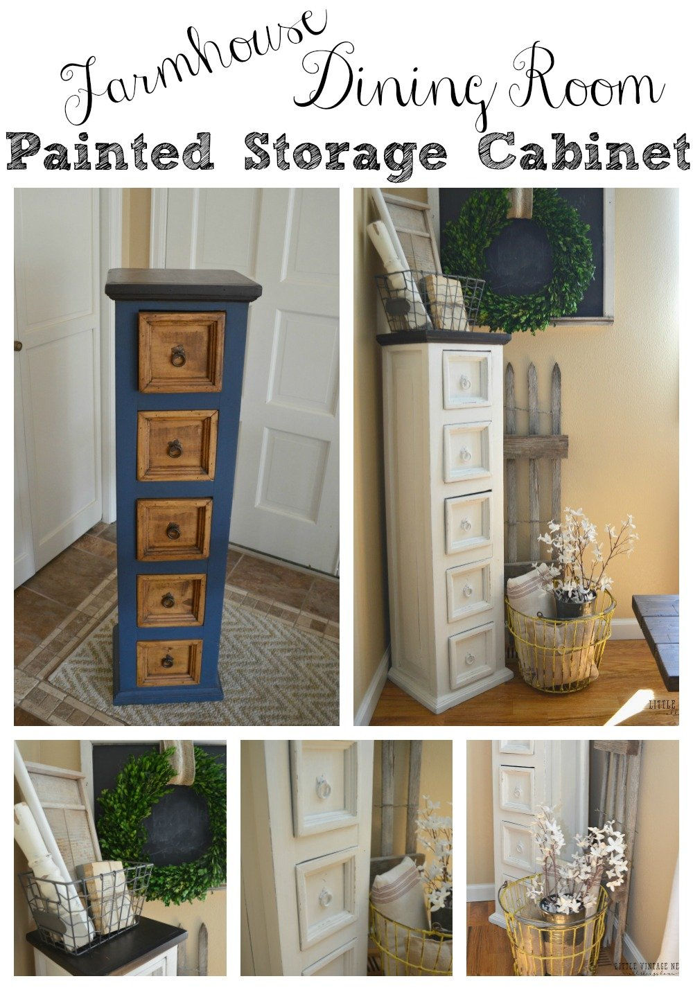Farmhouse Dining Room Painted Storage Cabinet