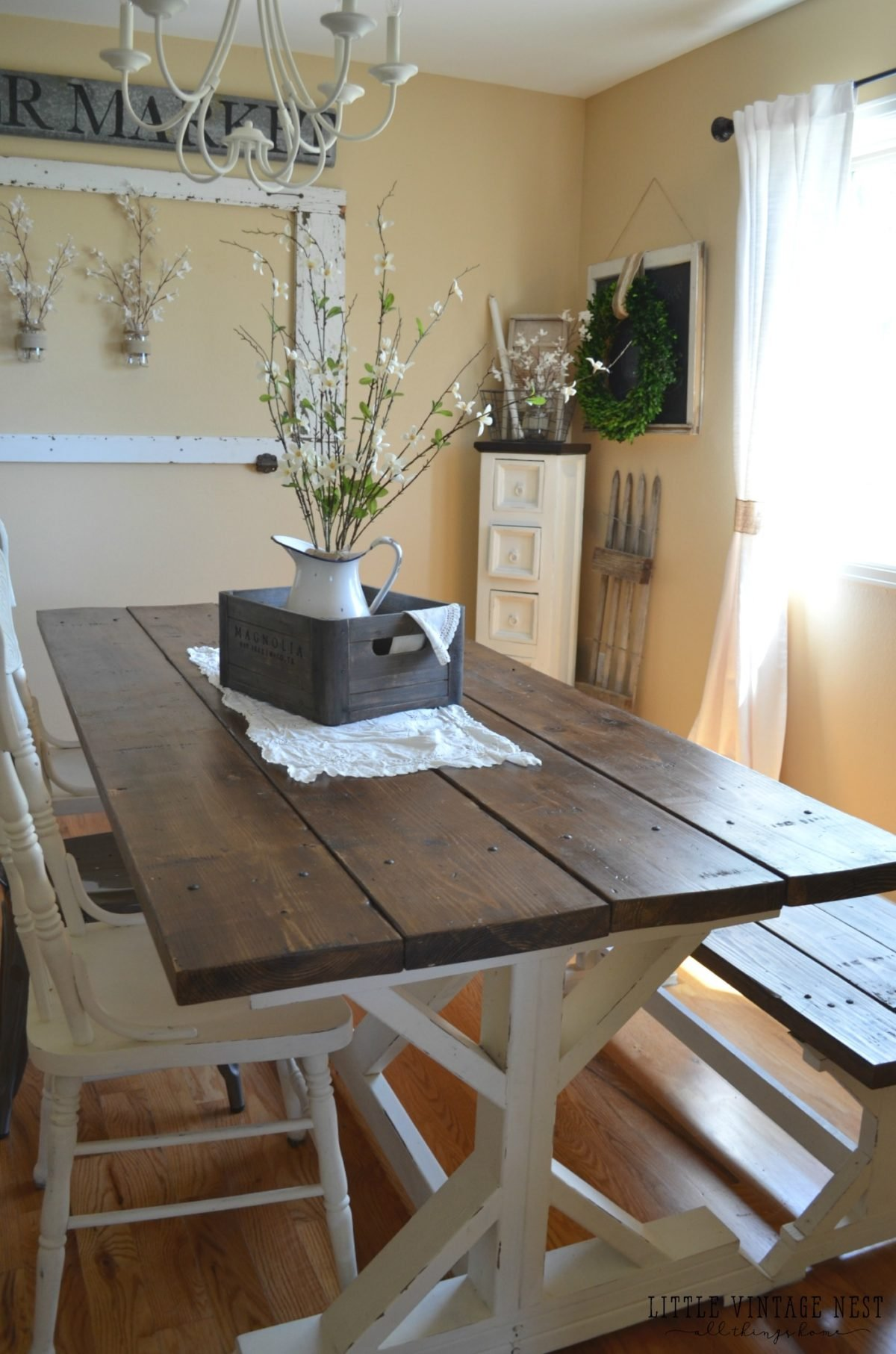 Farmhouse Dining Room & Painted Storage Cabinet