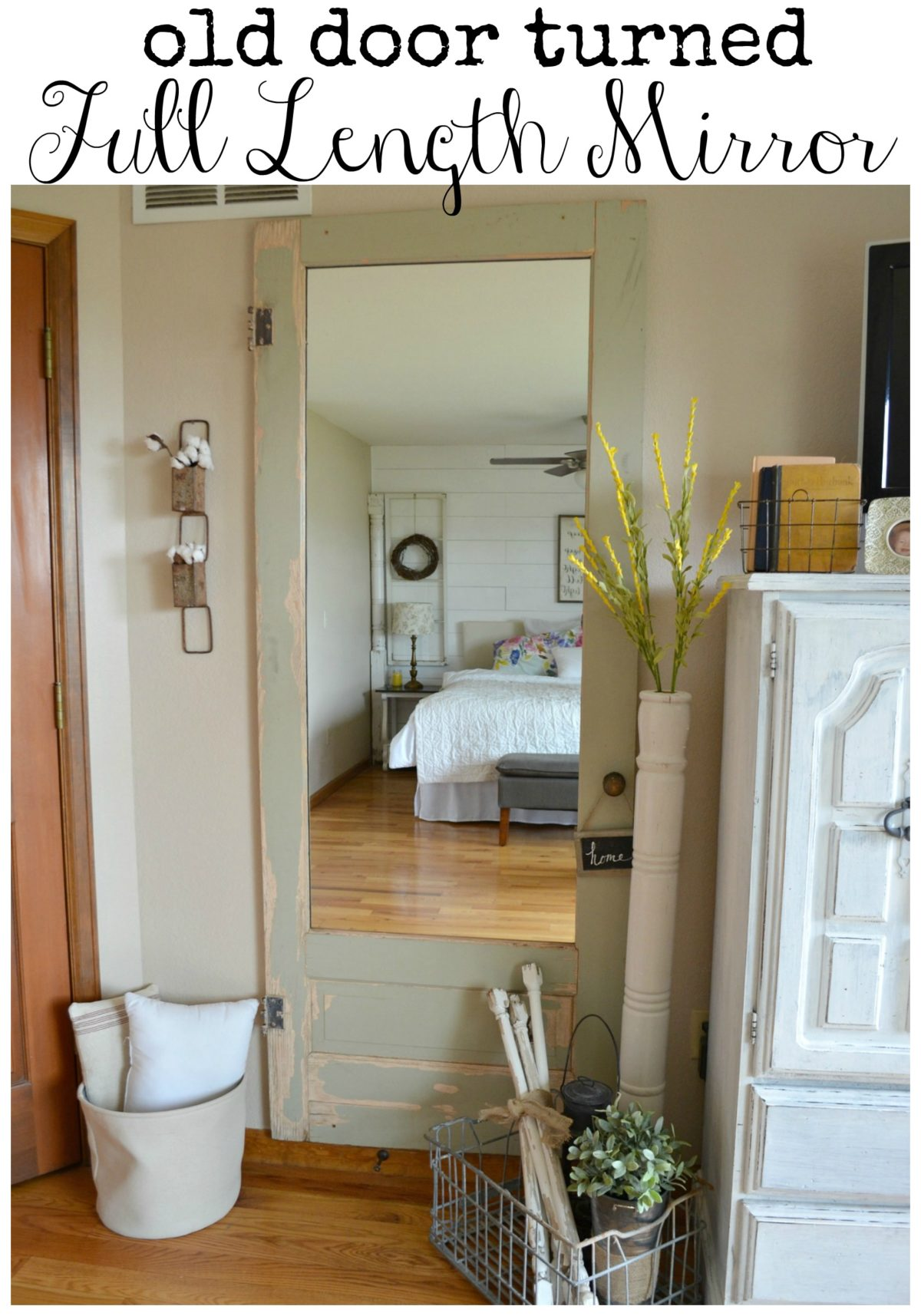 Old Door Turned Full Length Wall Mirror