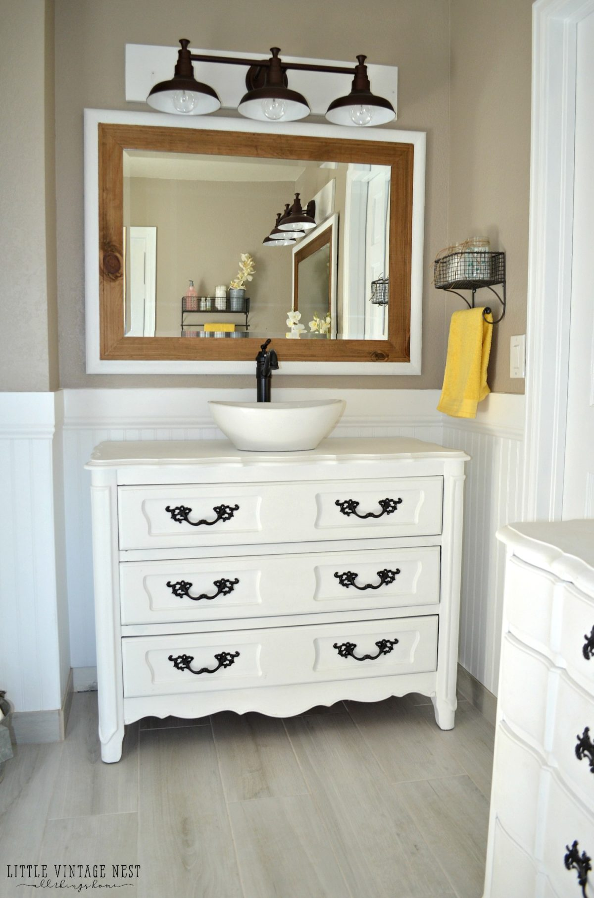 Step by step tutorial to turn an old dresser into bathroom vanity