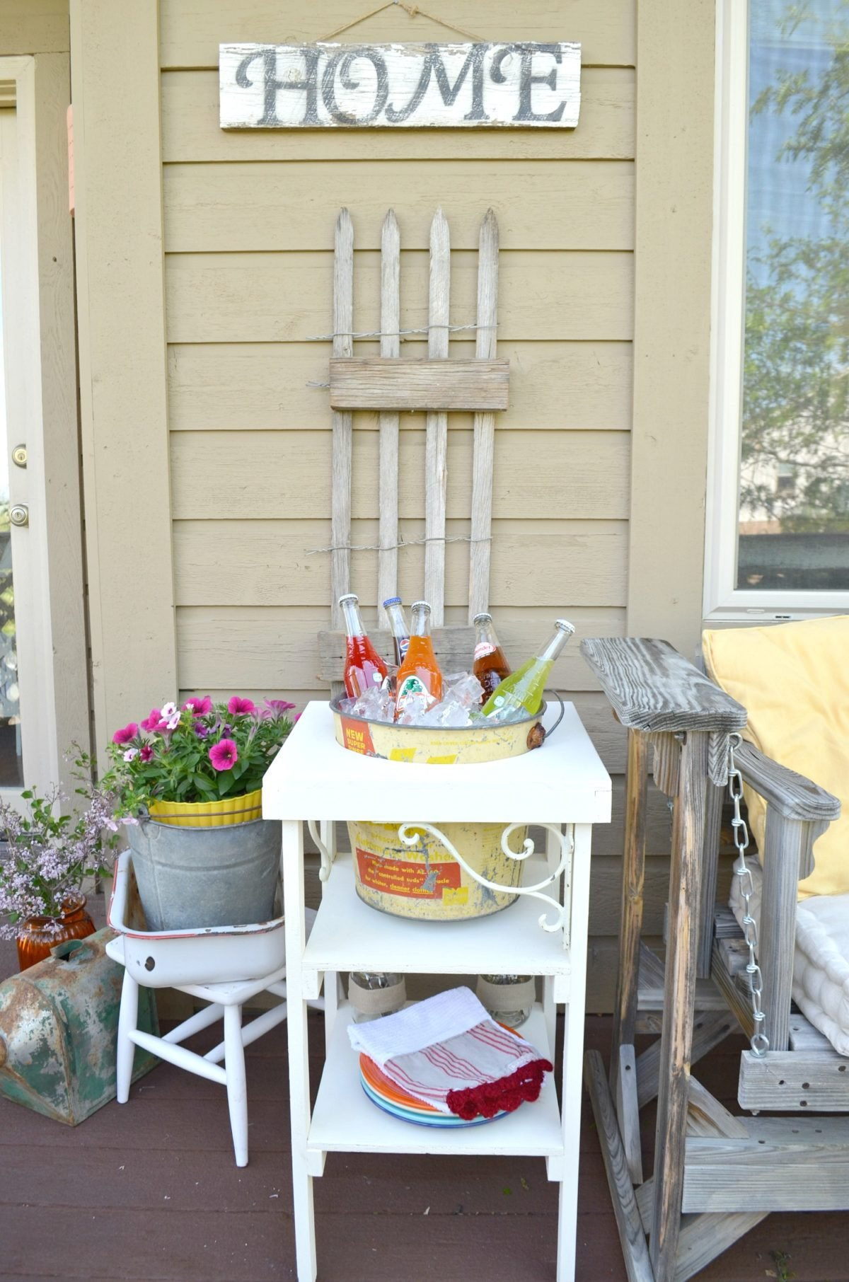 DIY Farmhouse Style Beverage Station and Porch