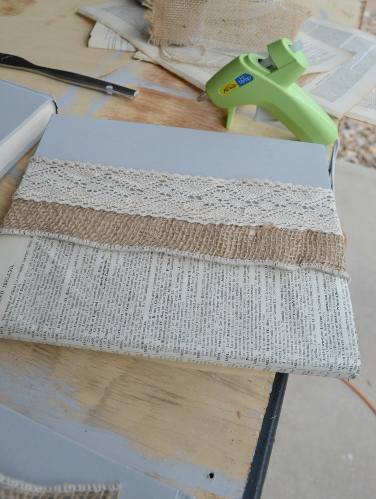 DIY Lace and Burlap Covered Books