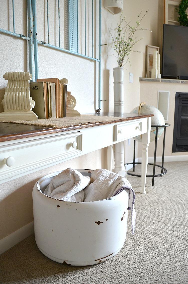 Old porcelain Tub for blankets Basement Decor