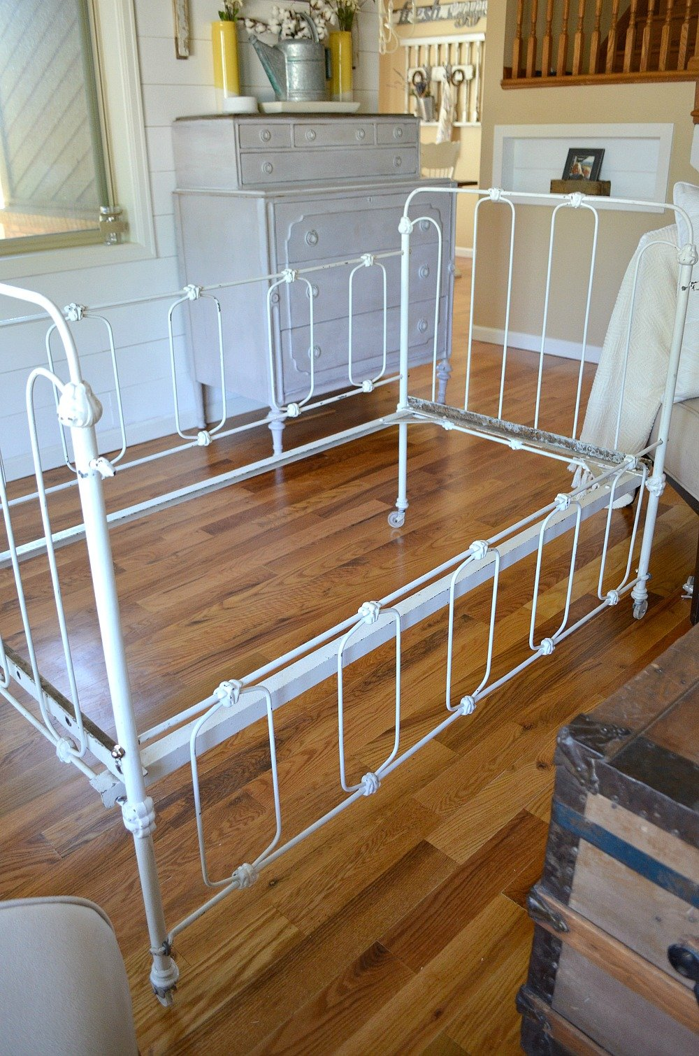 Vintage Crib Turned Couch Before