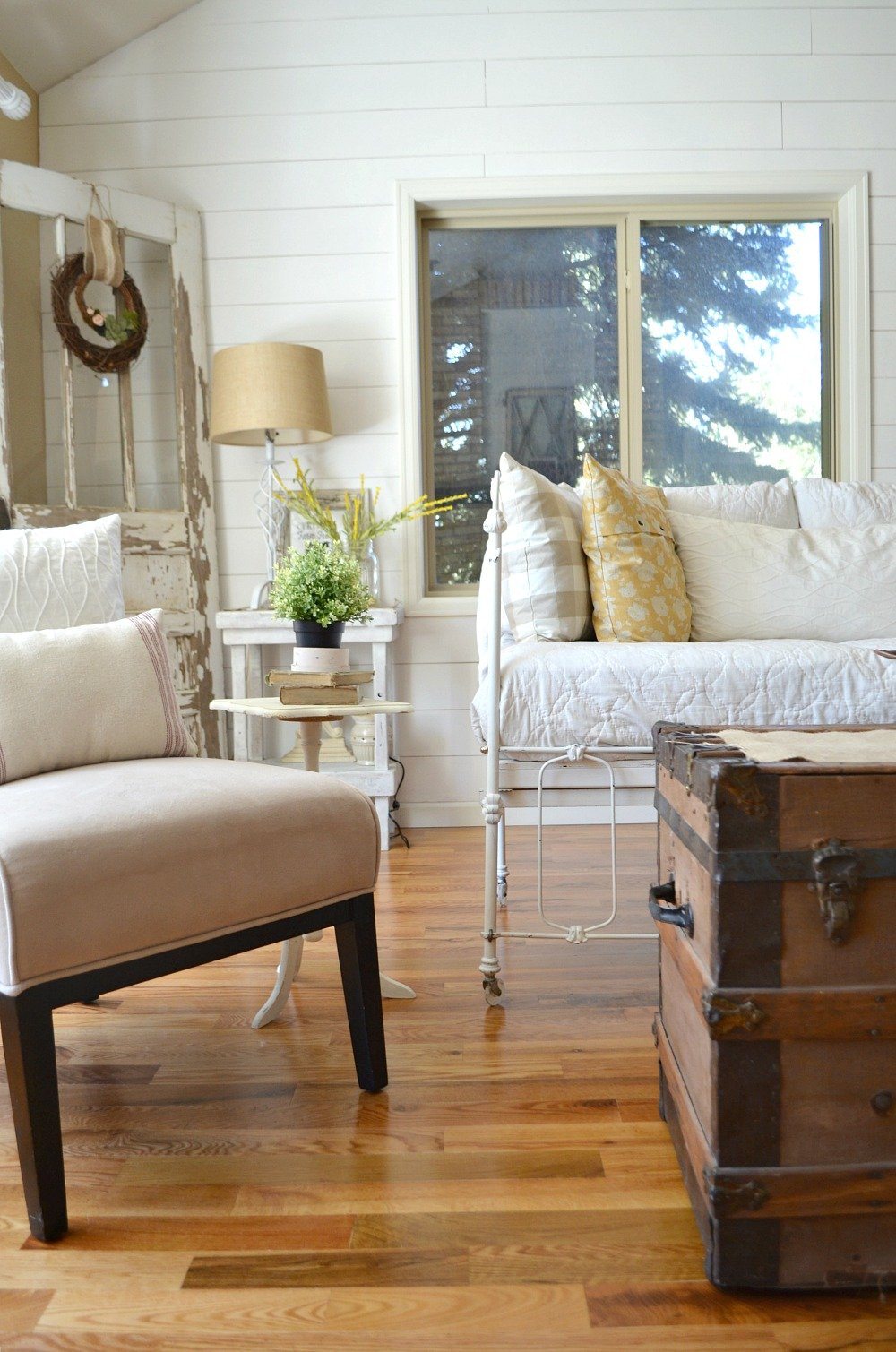 Vintage Crib converted into cozy couch 2