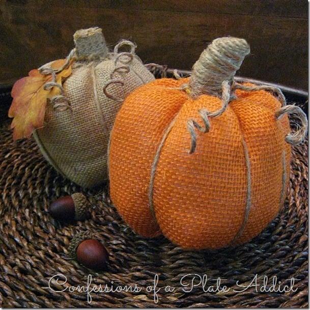 Easy No Sew Burlap Pumpkins