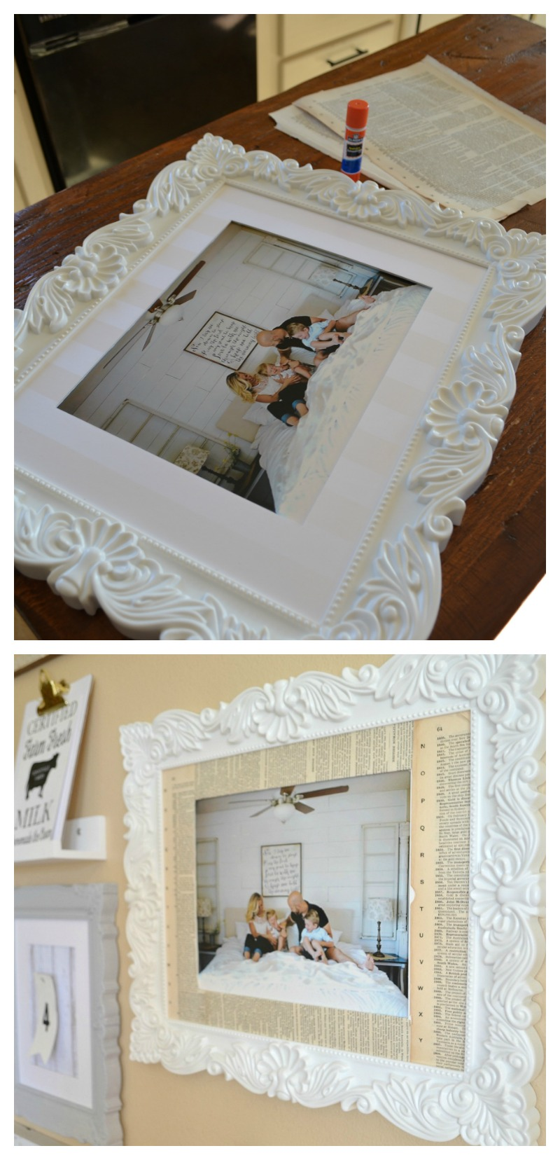 Framed Family Photo Lined in Book Pages For Gallery Wall