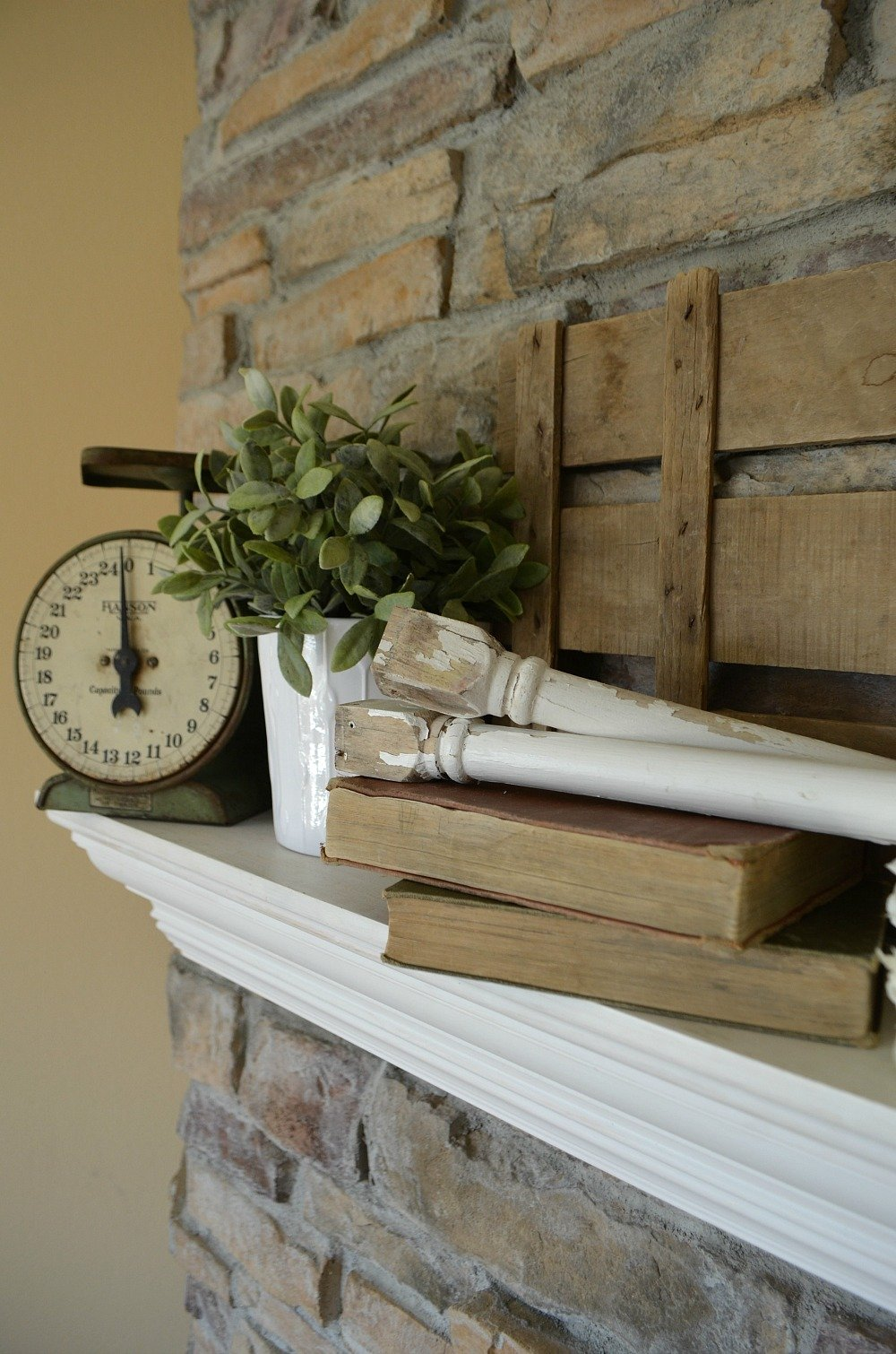 4 Tips for Decorating the Mantel--Old Spindles and Vintage Scale