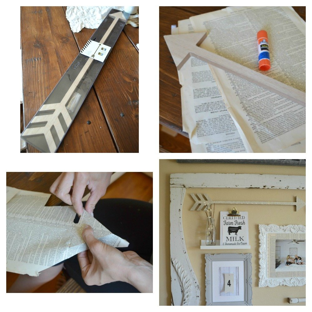Making Book Page Covered Arrow for Gallery Wall with Heidi Swapp products