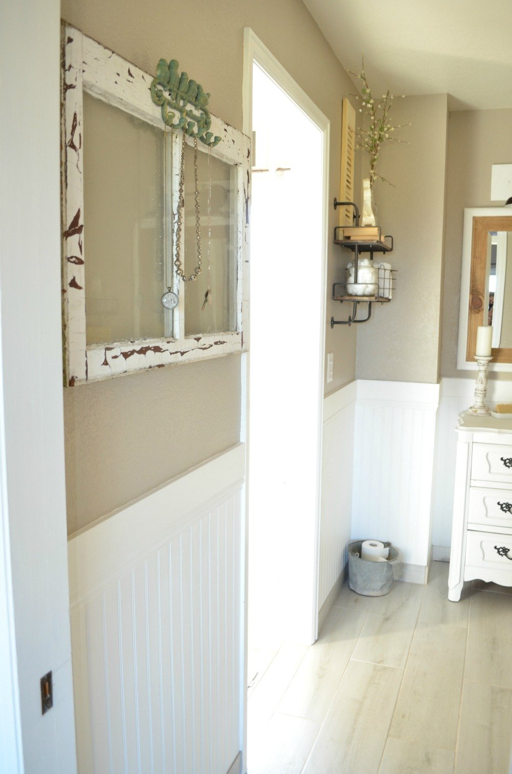 Old Window in Farmhouse bathroom