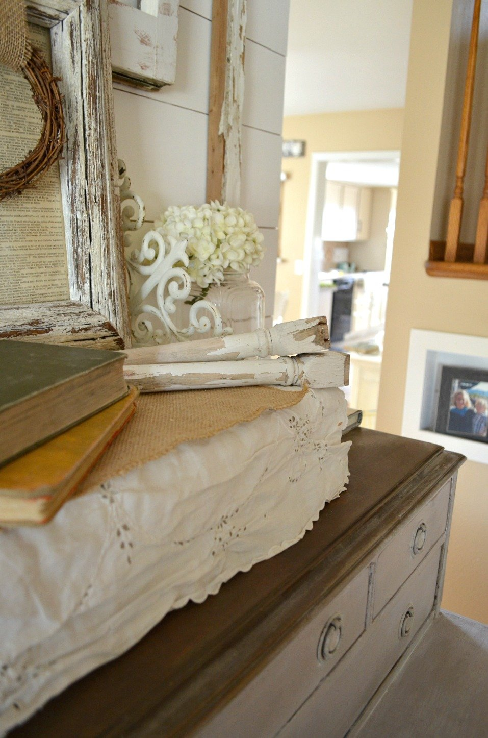 Spindles in farmhouse style vignette