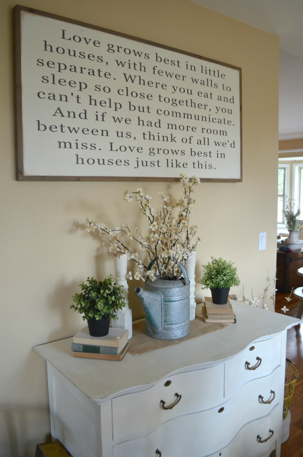 Love Grows Best in Little Houses Sign in Farmhouse Dining Room