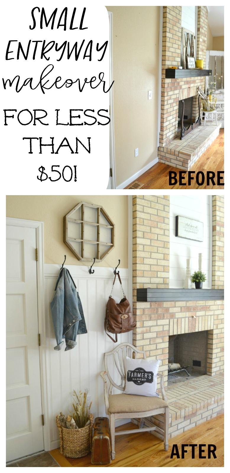 Small front entryway makeover for less than $50