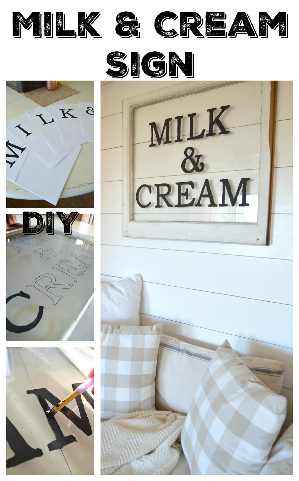 DIY Milk and Cream Sign Tutorial