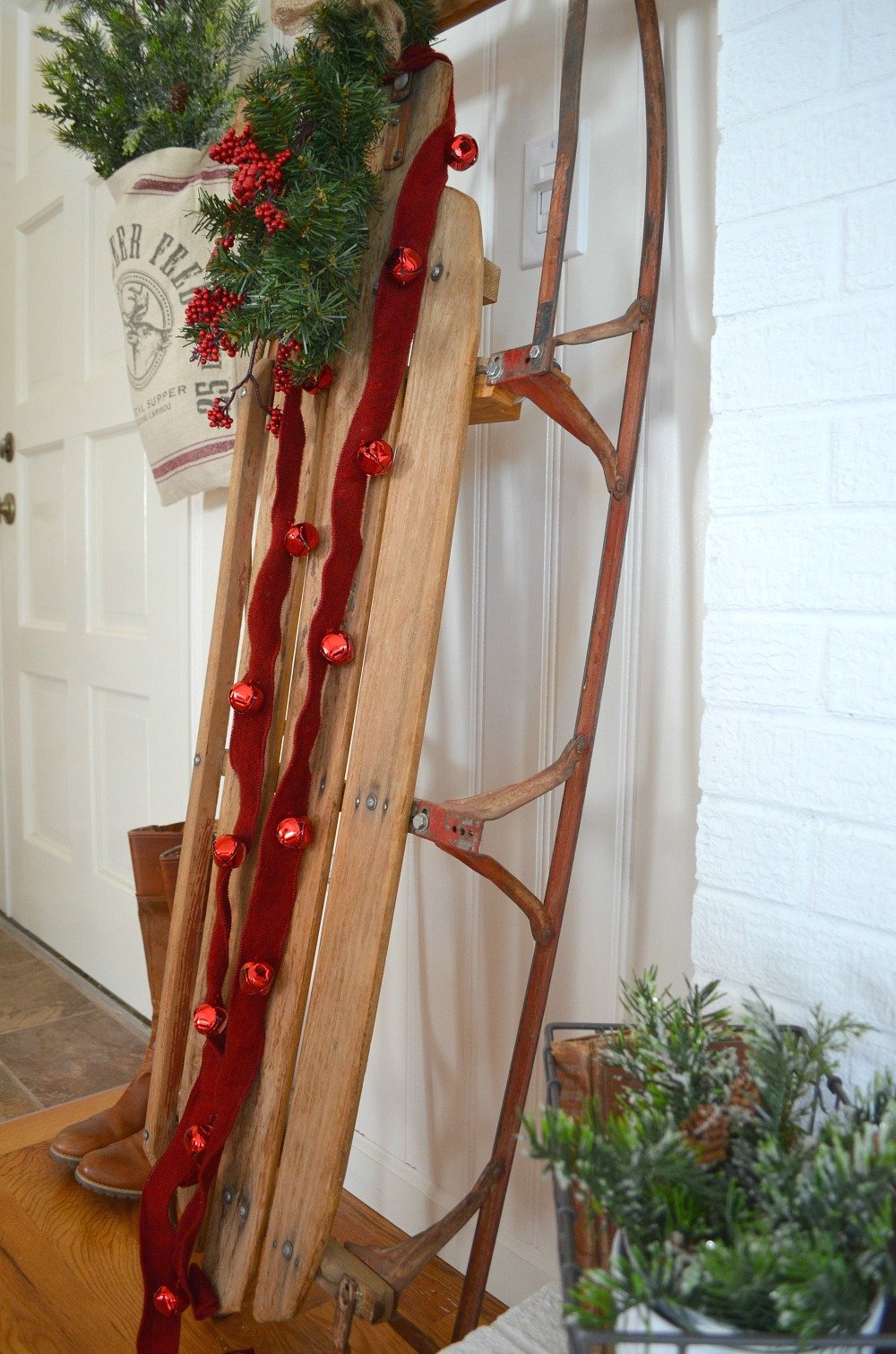 A Vintage Christmas Entryway. Vintage sled. Farmhouse Christmas Decor.