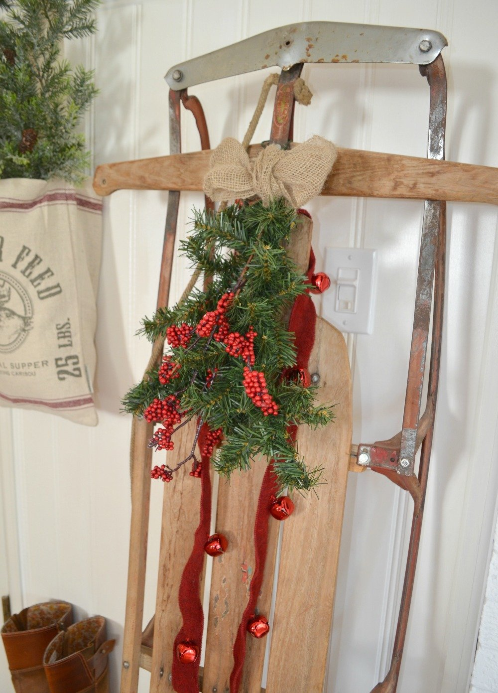 A Vintage Christmas Entryway. Farmhouse Christmas Decor. Vintage Sled Christmas Decor.