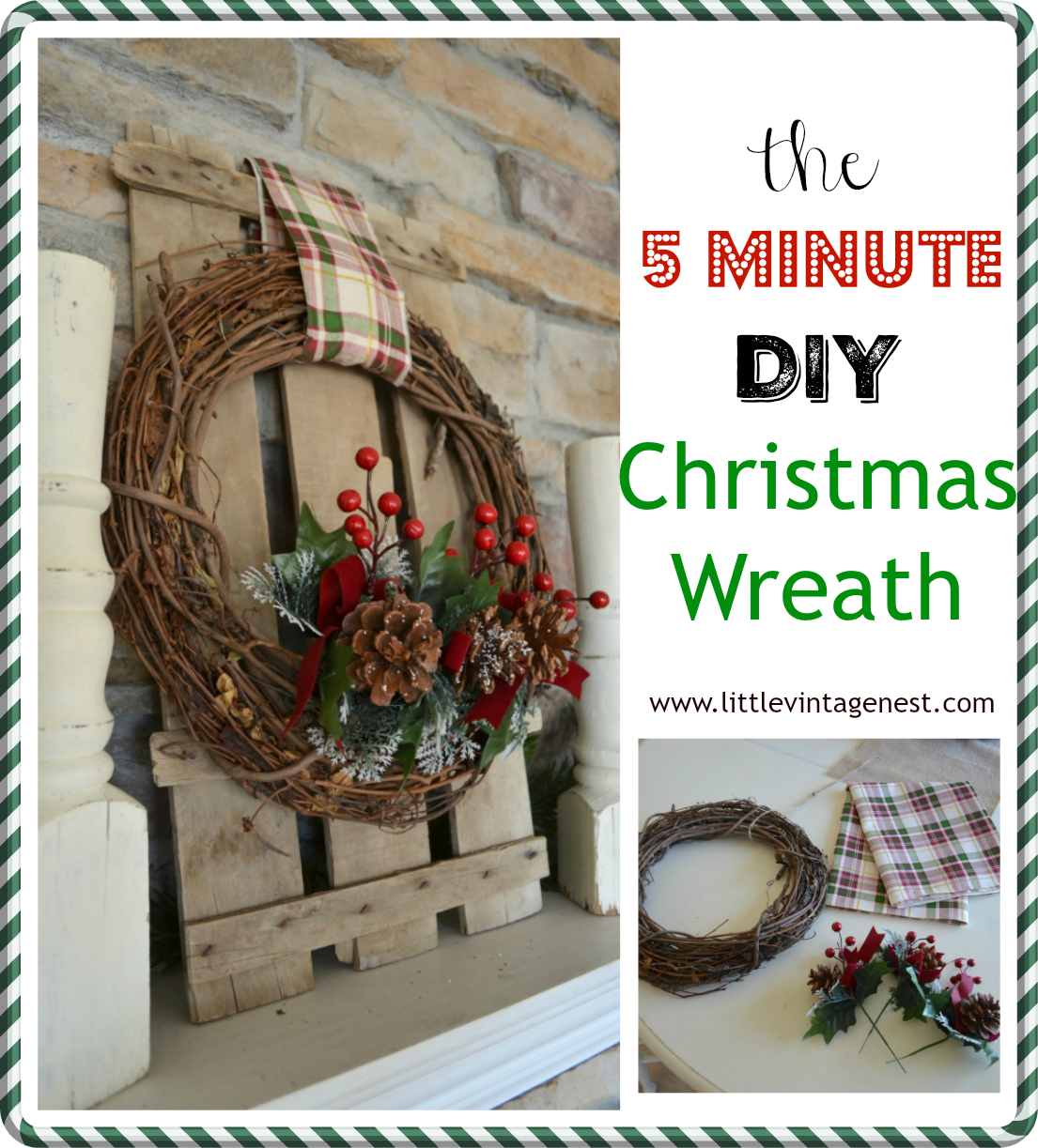 The 5 Minute DIY Christmas Wreath. Easy and fast holiday wreath.