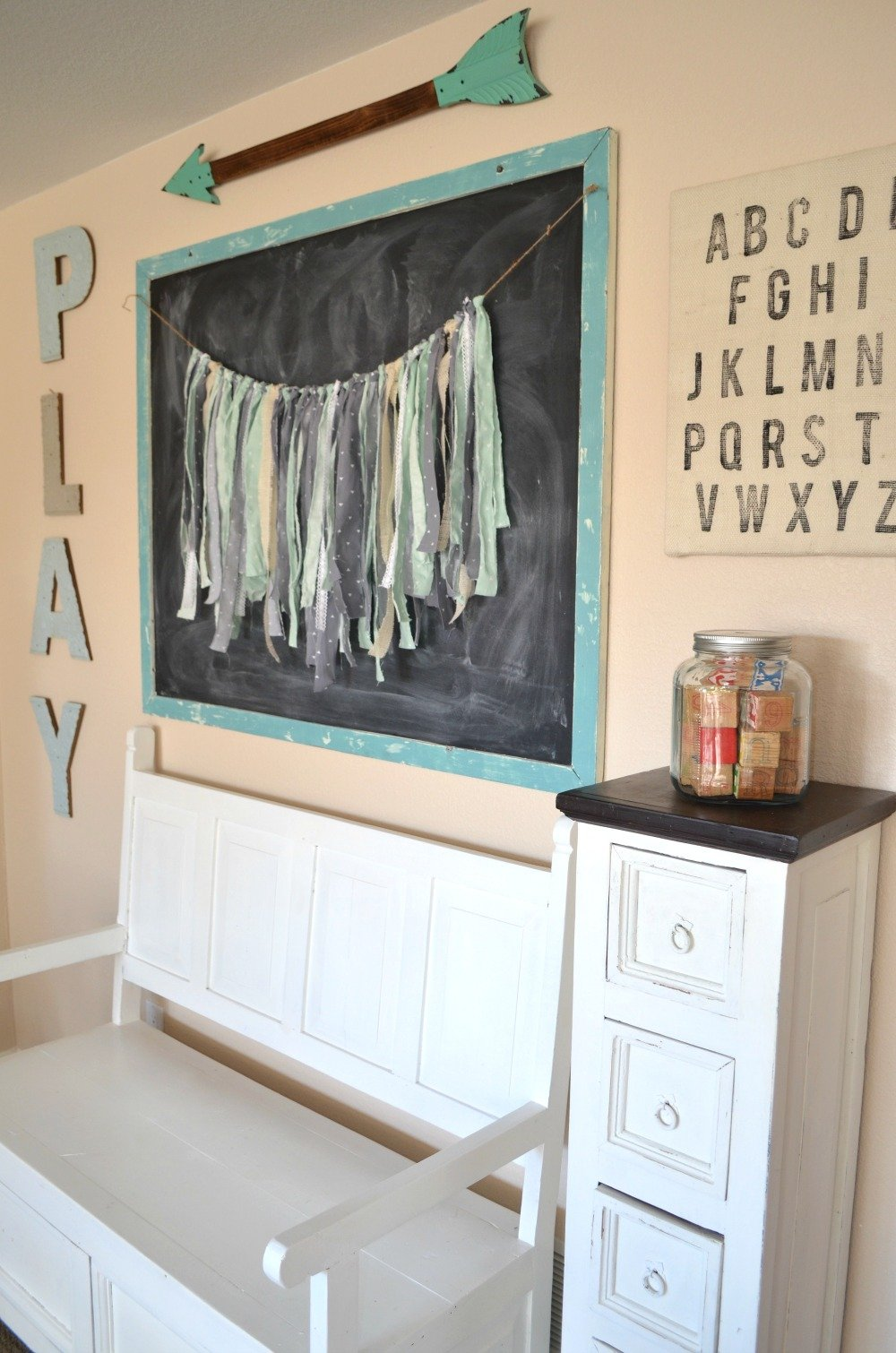 DIY Fabric Garland. Farmhouse decor. Playroom decor.
