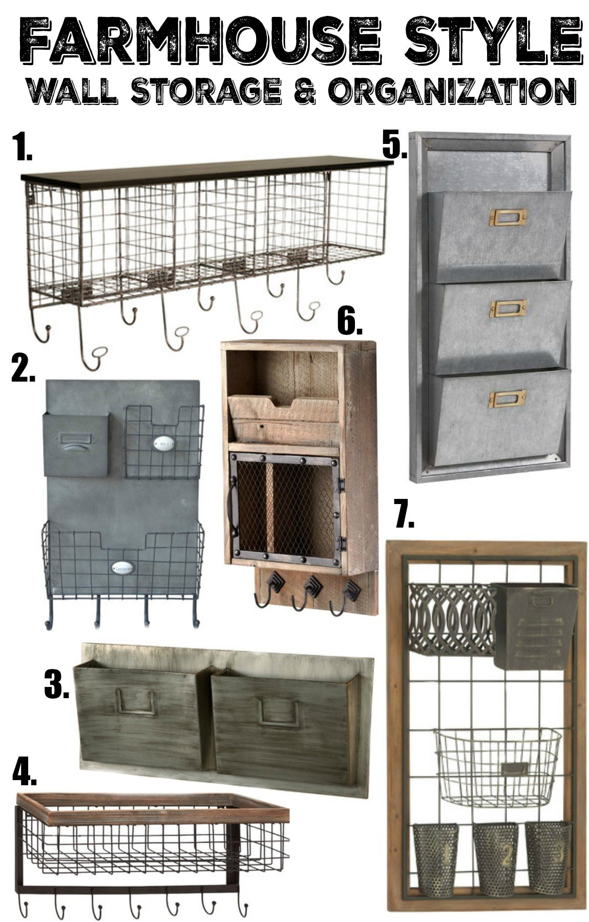 Farmhouse Style Wall Storage and Organization