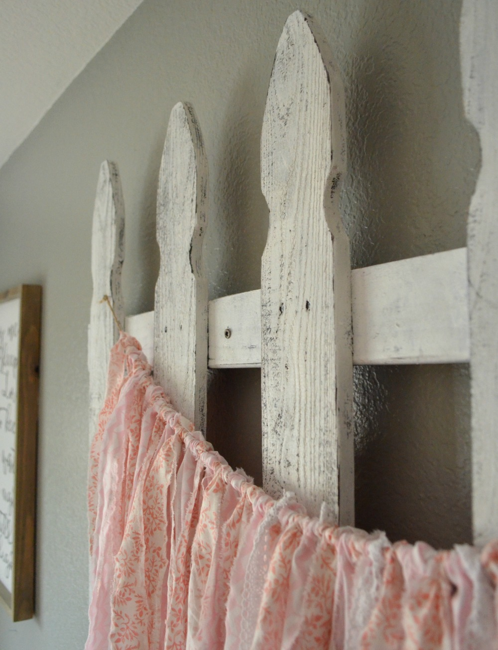 Easy Tip to Give New Wood an Aged Look. This quick trick will help give any new wood an aged, vintage look. Picket fence decor in girl's nursery.