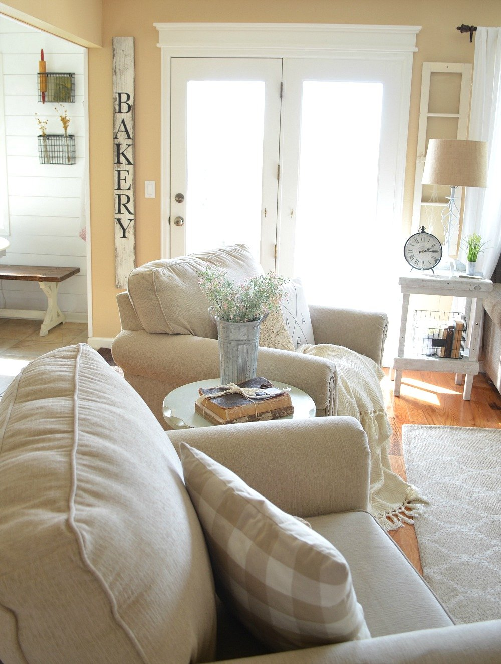 Refreshed Modern Farmhouse Living Room. Great ideas for late winter and early spring decor.