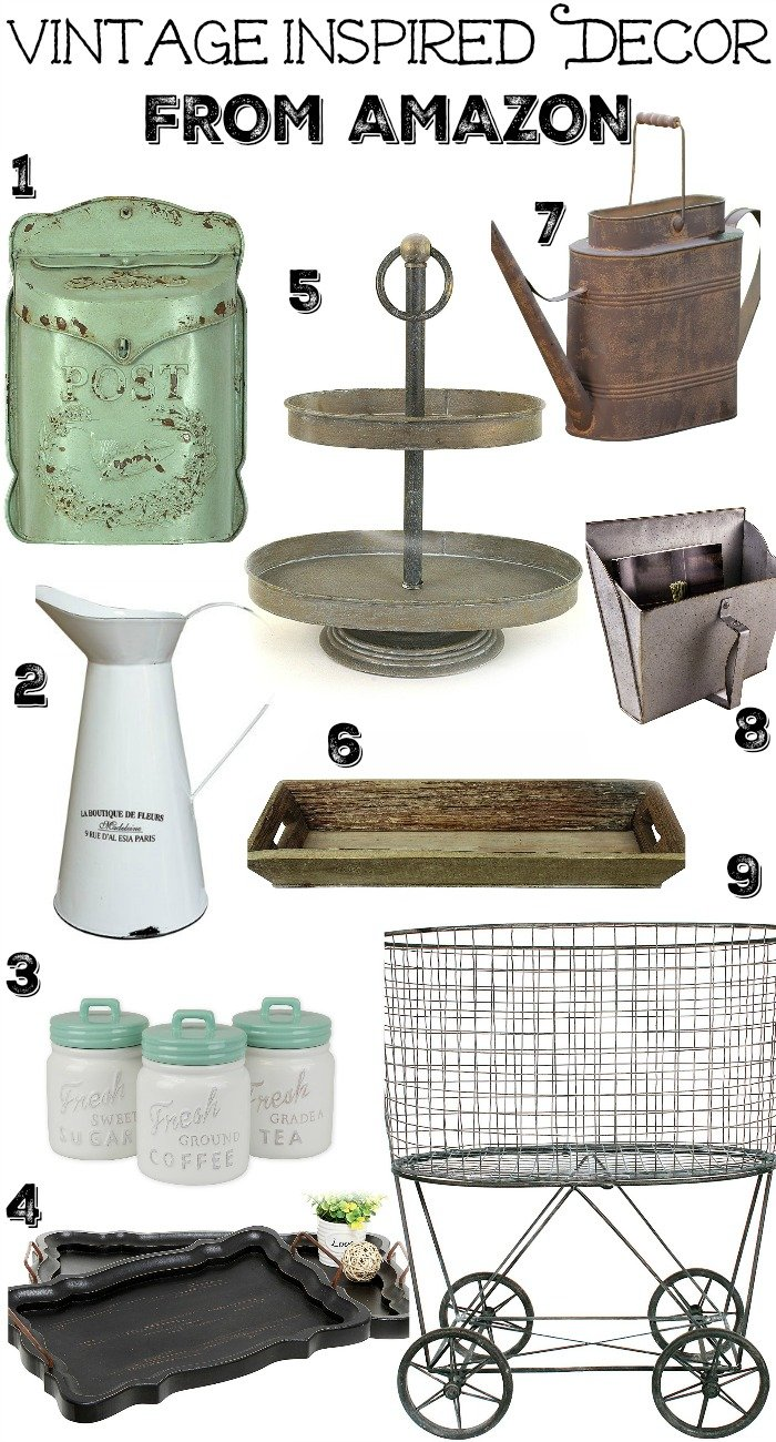 Vintage Inspired Decor from Amazon. Affordable decor for the modern farmhouse.