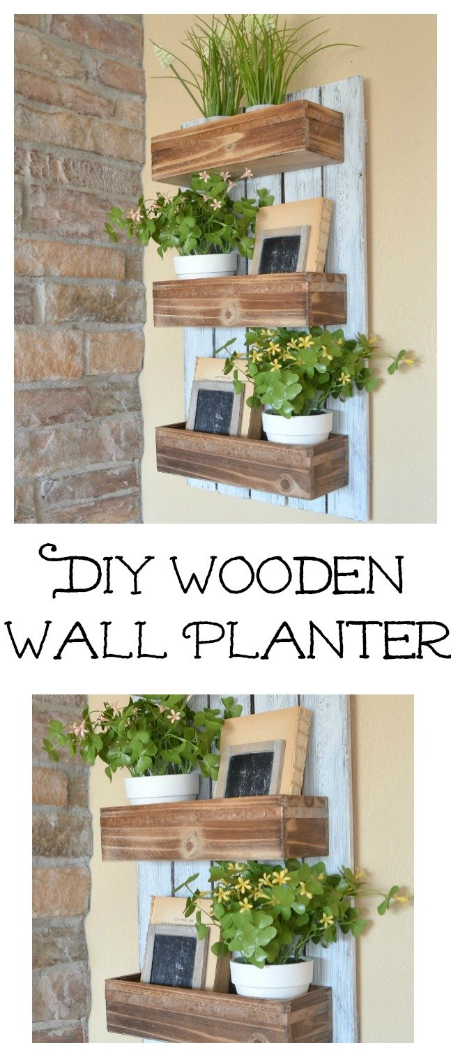 DIY Wooden Wall Planter. Easy farmhouse house decor for spring.
