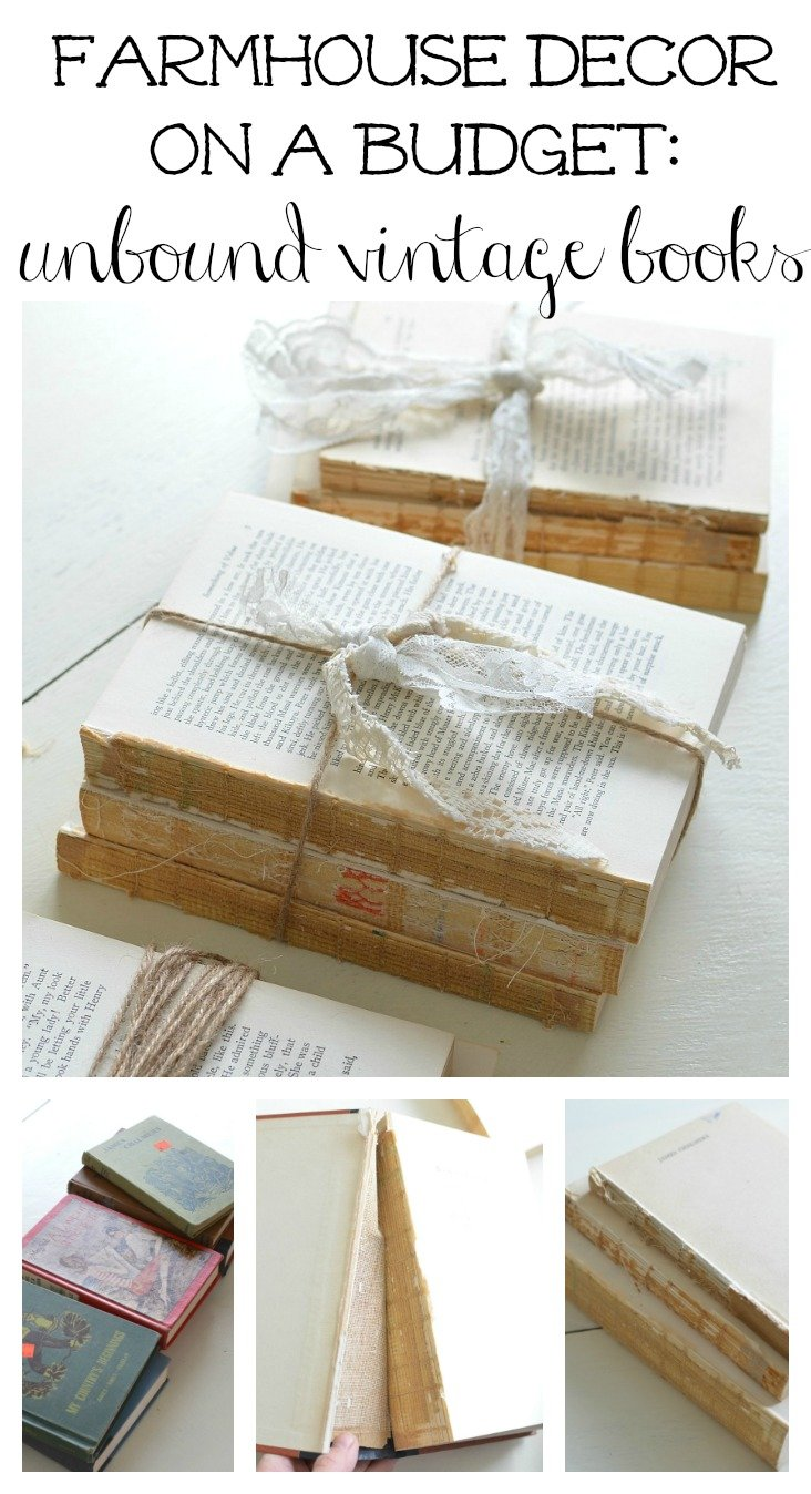 Farmhouse decor on a budget: DIY unbound vintage books.