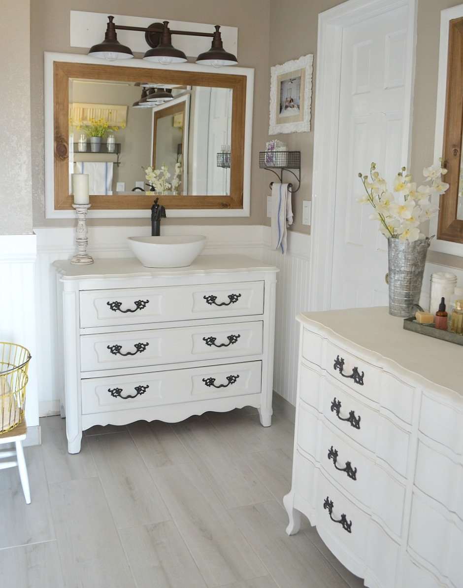 Honest Review of My Chalk Painted Bathroom Vanities. Modern farmhouse bathroom decor.