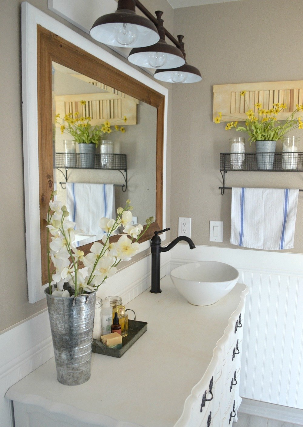 Modern Farmhouse Bathroom Decor. An honest review of chalk painted bathroom vanities.