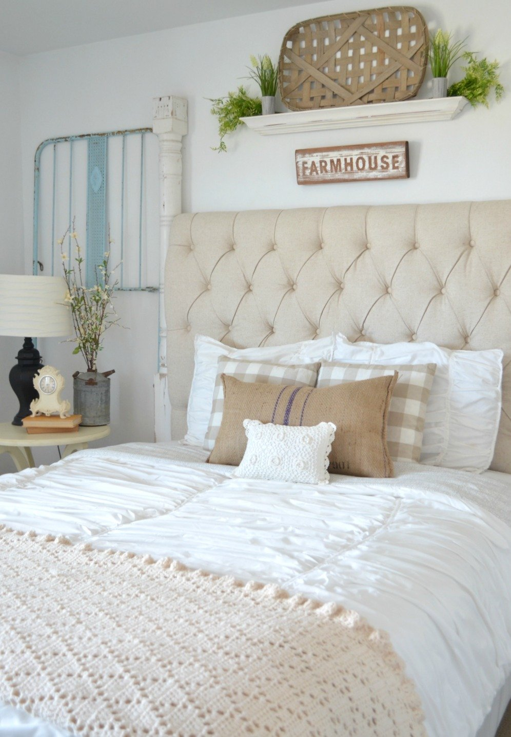 Vintage Crib Frame In Guest Bedroom Vintage Farmhouse Bedroom