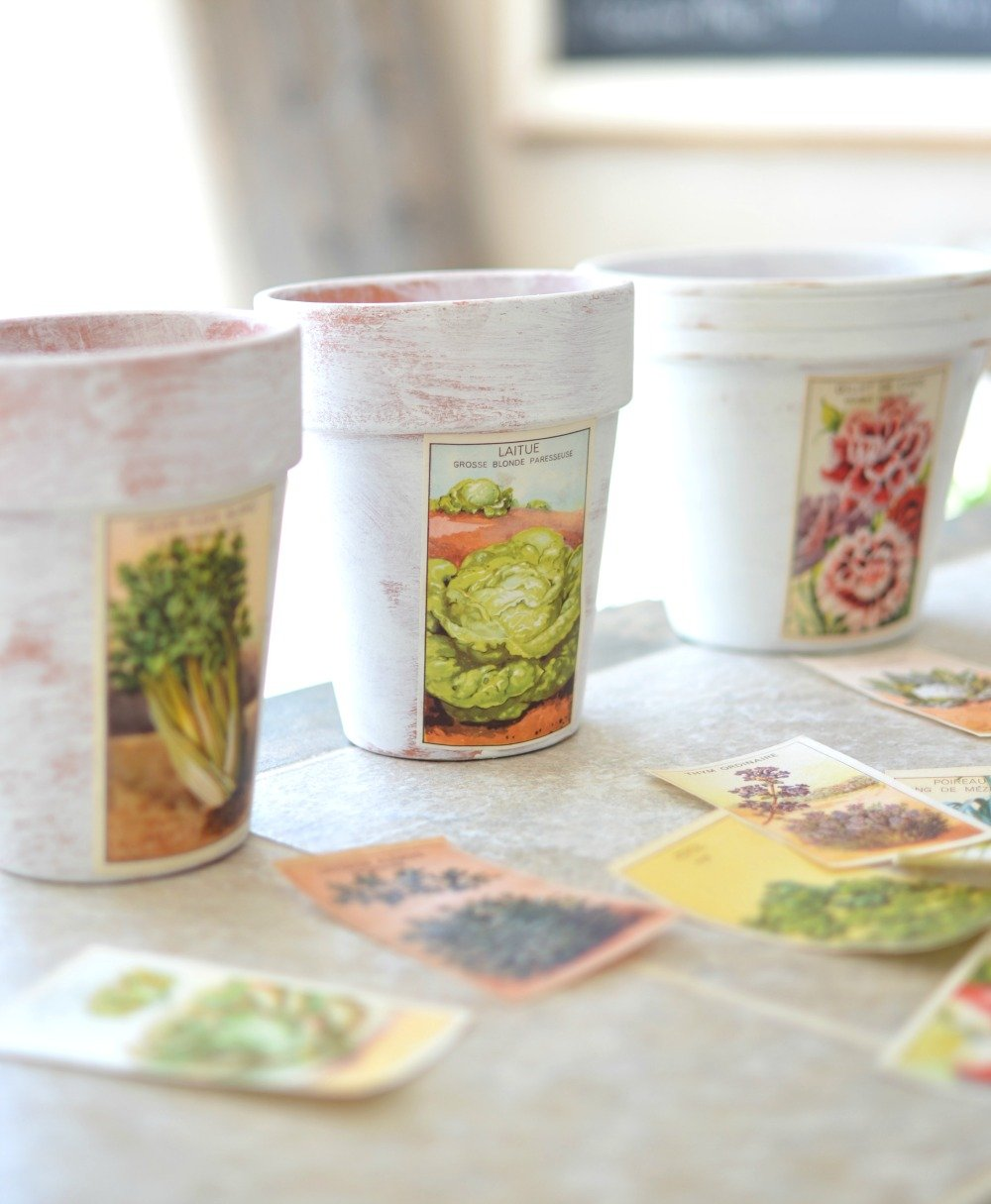 DIY Painted Pots with Vintage French Labels