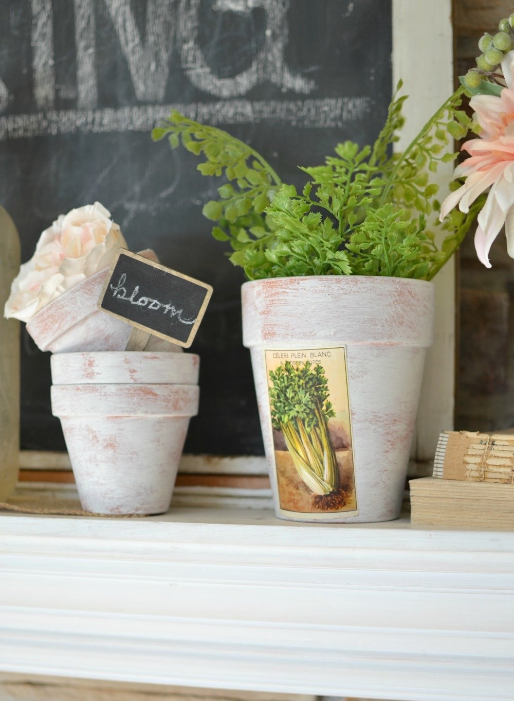 DIY Painted Pots with Vintage French Labels. Farmhouse spring decor idea.