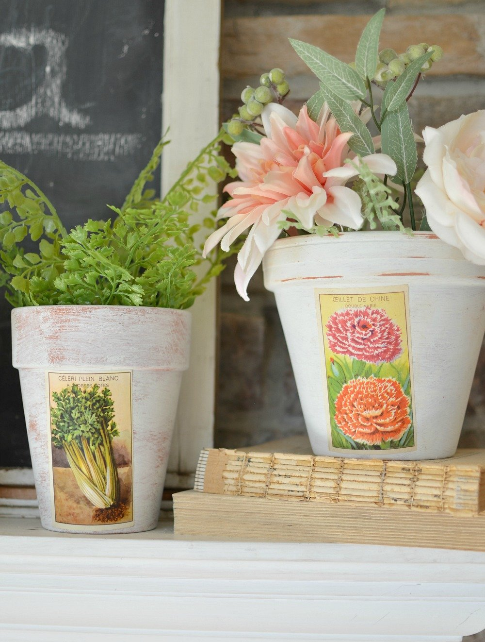 DIY Painted Pots with Vintage French Labels. Farmhouse spring decor. Perfect DIY project for spring.