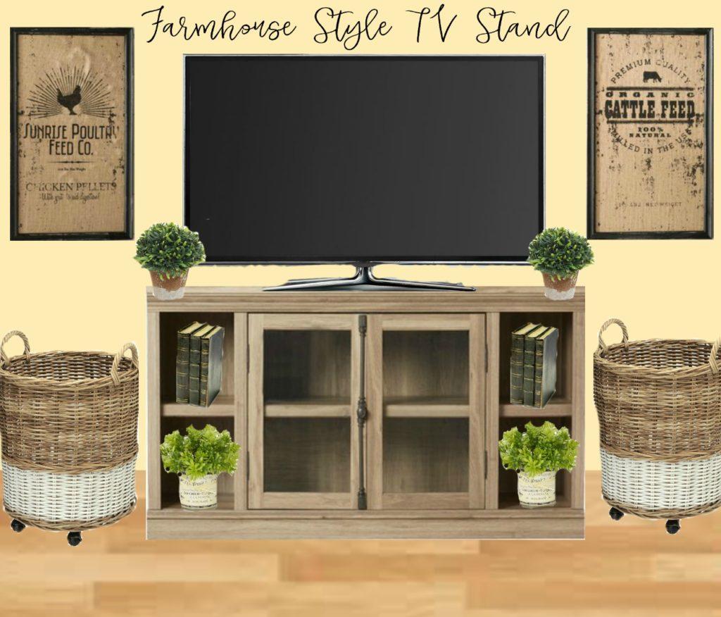 Farmhouse style TV stand design. Farmhouse decor and media center