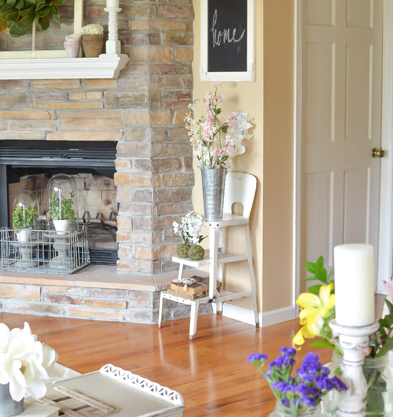 Farmhouse Living Room Decorated for Spring