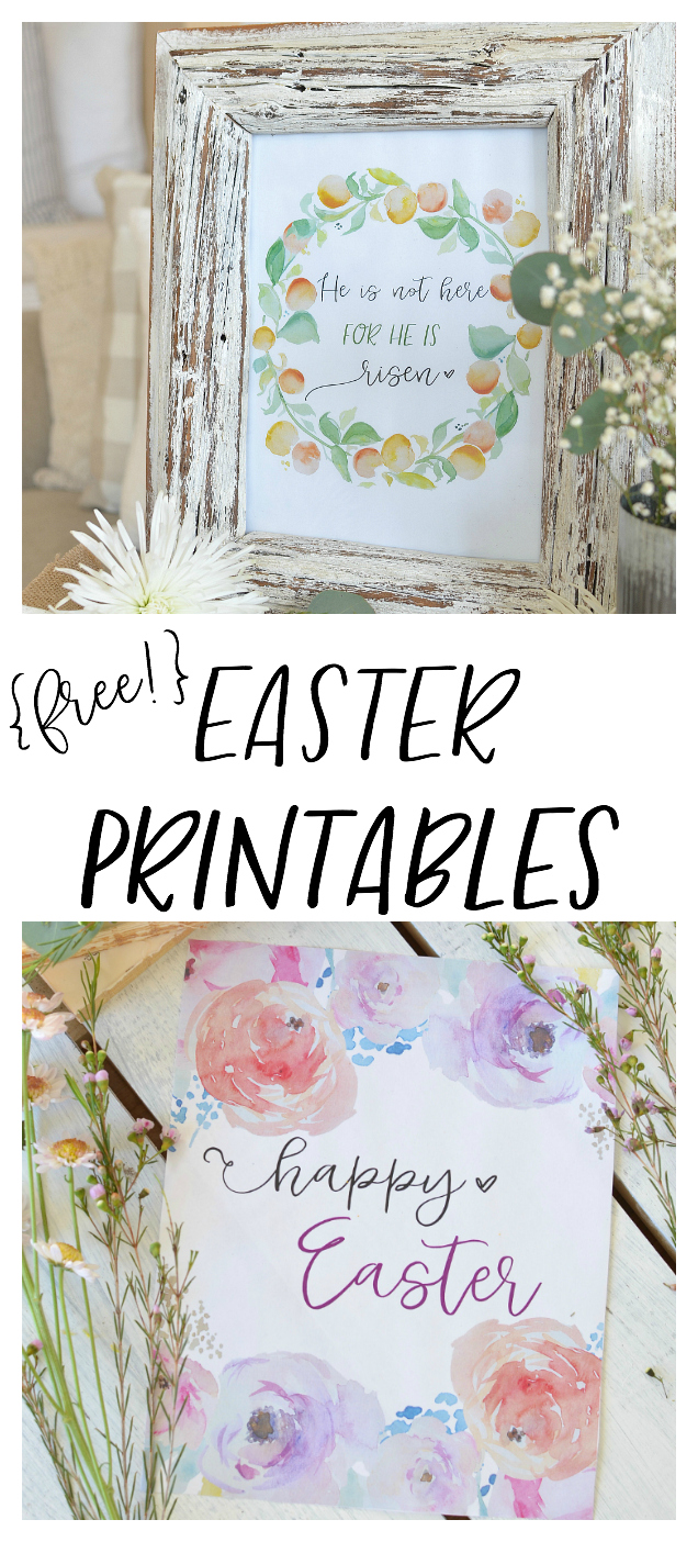 Free Easter Printables. Watercolor floral printables of Easter. Easy Easter Decor.