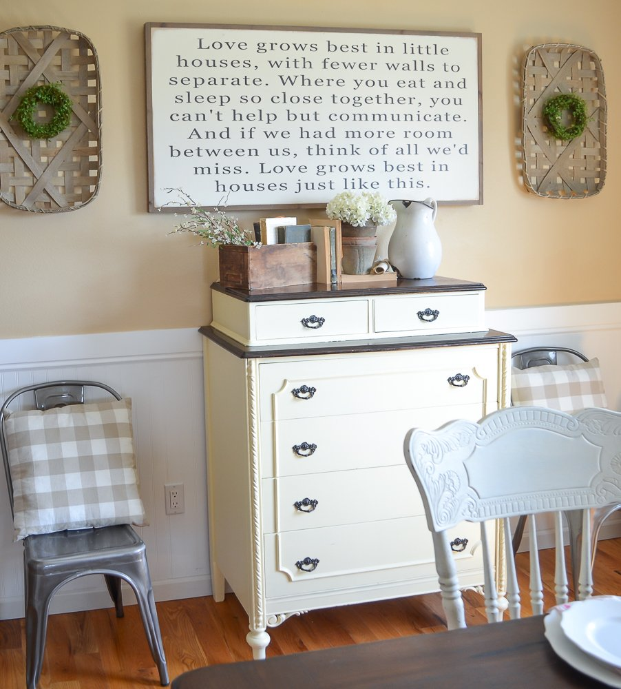 Love Grows Best in Little Houses Sign in farmhouse dining room. The Best Farmhouse Style Signs on Etsy