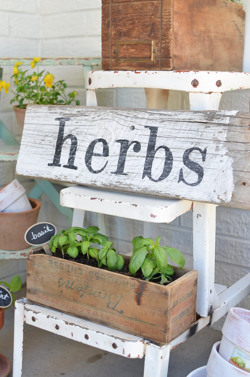 DIY Herb Garden with Vintage Boxes