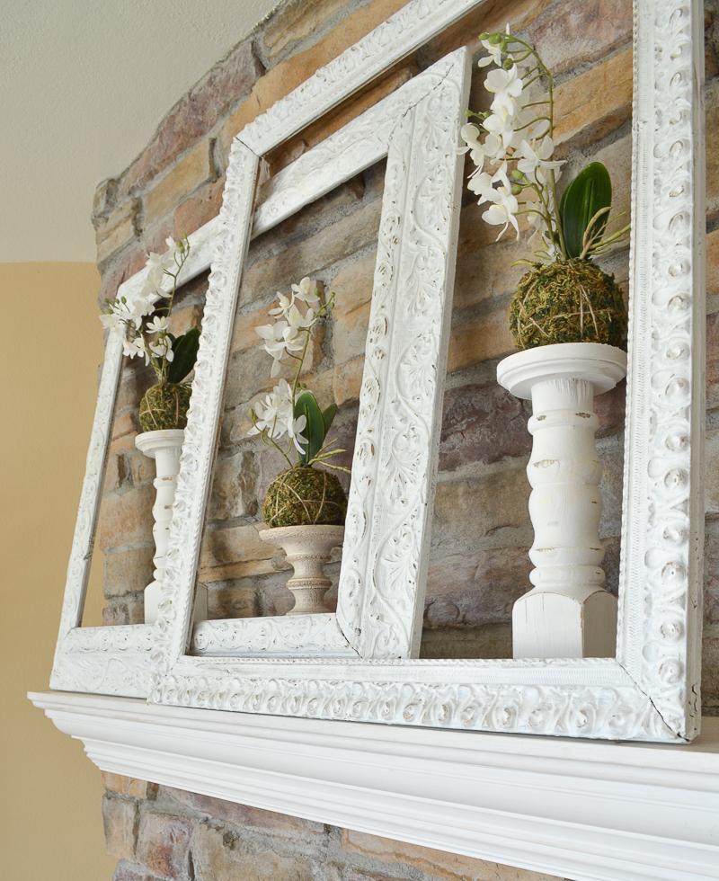 Vintage Frames in Farmhouse Style Mantel
