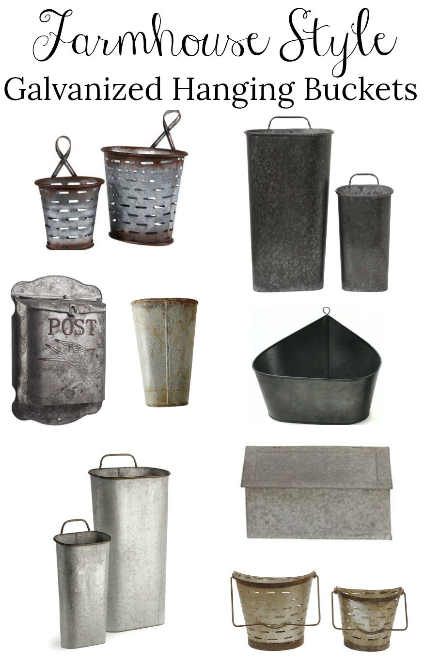 Farmhouse Style Galvanized Hanging Buckets