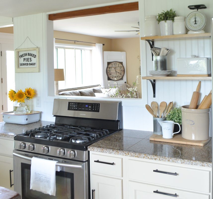 Farmhouse Kitchen with open shelves and passthrough