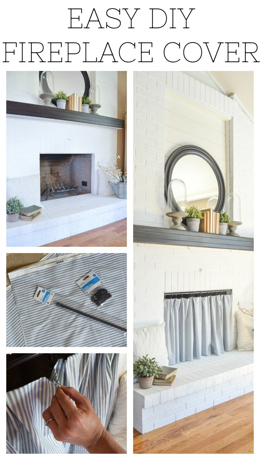 Easy DIY Fireplace Cover. Brilliant idea to hide an ugly fireplace opening!