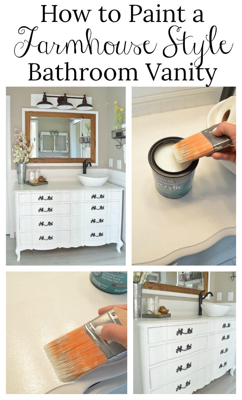How to Paint a Farmhouse Style Bathroom Vanity