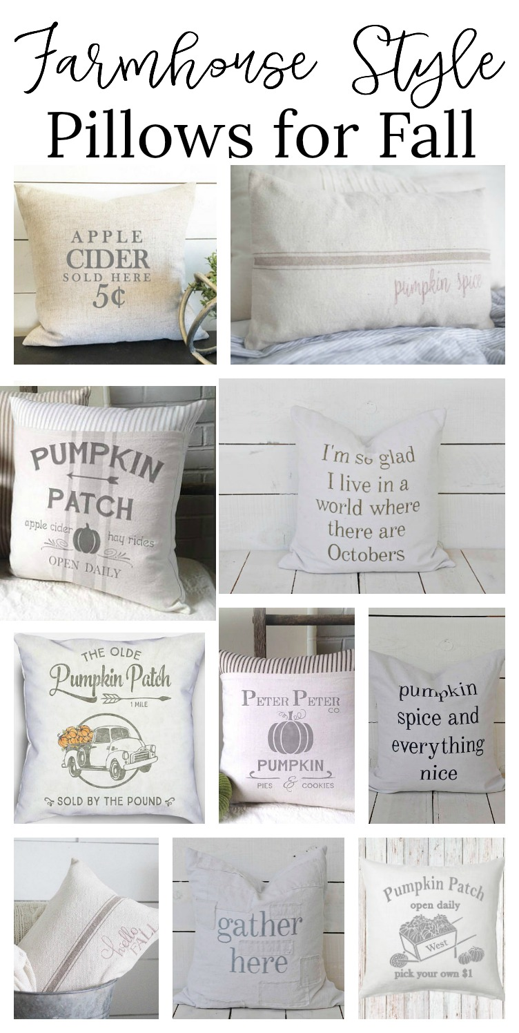 Farmhouse style fall pillows. Great pillows for fall with lots of farmhouse style!